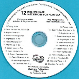 12 Intermediate Jazz Etudes for Alto Saxophone (Audio Download)