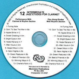 12 Intermediate Jazz Etudes for Clarinet (Audio Download)